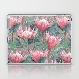 Pink Painted King Proteas on grey Laptop & iPad Skin