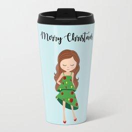 I am a Christmas Girl - Christmas tree inspired Travel Mug