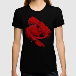 Red Rose Kissed By Rain T-shirt