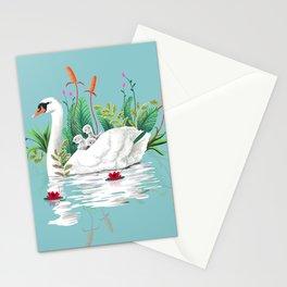 Bond, Jungle Animals, Swan Family Nature Pond Illustration, Bohemian Ducks Love Colorful Botanical Stationery Cards