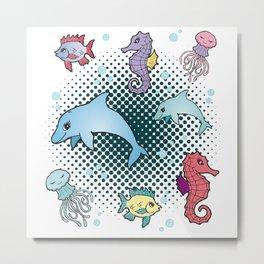 Marine Life Marine Animals Aquarium Aquarist Gift Metal Print