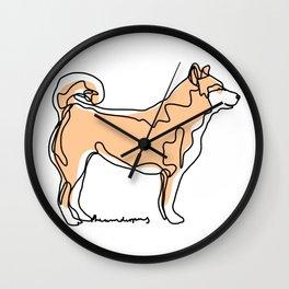 Shiba Inu Dog One Line Art Wall Clock