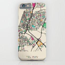 Colorful City Maps: Tel Aviv, Israel iPhone Case