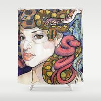 medusa Shower Curtains featuring Medusa by Thea Maia