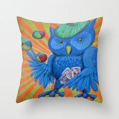 Juggling Card Playing Owl Throw Pillow