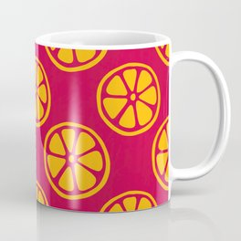 Tropical exotic bright sunny orange citrus lime lemon slices decorative summer fruity strawberry red pattern design Coffee Mug