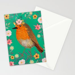 Robin Bird with flowers Stationery Cards