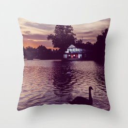 Silhouette of a Swan Throw Pillow