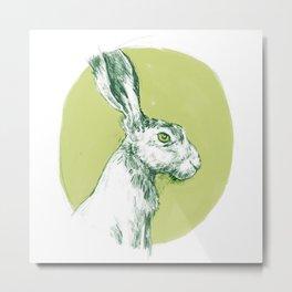 Green Hare Metal Print