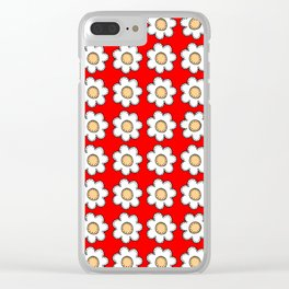 Retro Doodle Mini Flower - Red and White Clear iPhone Case