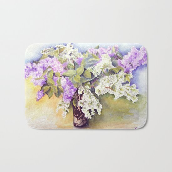 Lilacs bouquet Bath Mat