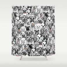 just dogs coral mint Shower Curtain