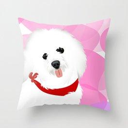 coton de tulear dog art Throw Pillow