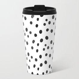 Small Black Watercolor Abstract Polka Dots Travel Mug