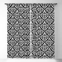 Scroll Damask Big Pattern White on Black Blackout Curtain