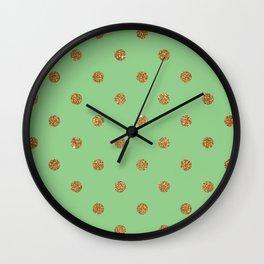 Dark Sea Green3 Gold Glitter Dot Pattern Wall Clock