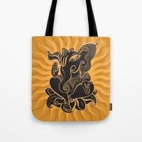 hindu Tote Bags featuring Hindu God Ganesha by Smyrna