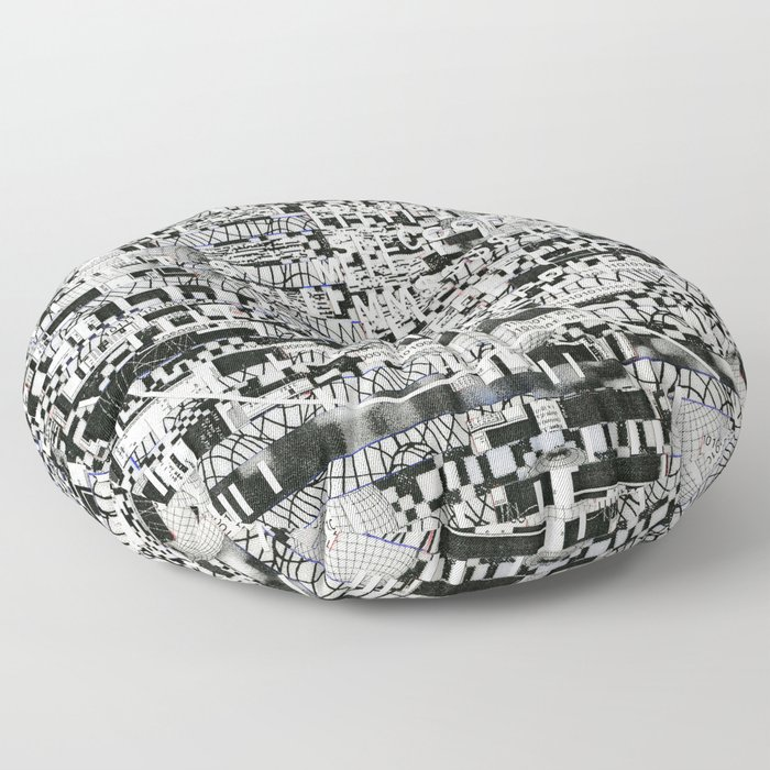 Confused Images Behind the Interface (P/D3 Glitch Collage Studies) Floor Pillow
