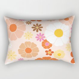 Groovy 60's Mod Pastel Flower Power Rectangular Pillow