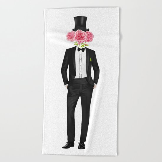 Gentleman with flowers Beach Towel