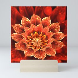 Red Dahlia Fractal Flower with Beautiful Bokeh (Vivid Crimson) Mini Art Print