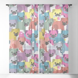 Colored Pugs Pattern - no1 Sheer Curtain