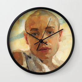 Portrait Painting of Bald Person Woman Face in Yellow Purple Green Impressionist Art Wall Clock