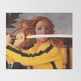 Botticelli's Venus & Beatrix Kiddo in Kill Bill Throw Blanket