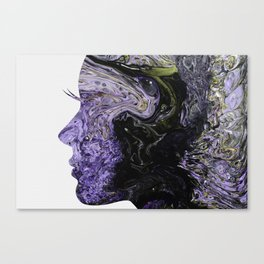 Fluid Art Dirty Cup Pour Abstract Woman Face Silhouette Canvas Print