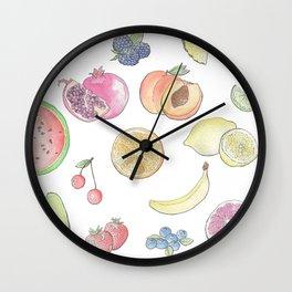 Watercolor Fruit Wall Clock