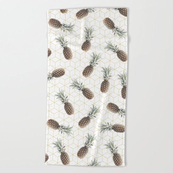 Raining Pineapples Beach Towel