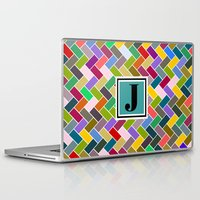 monogram Laptop & iPad Skins featuring J Monogram by mailboxdisco