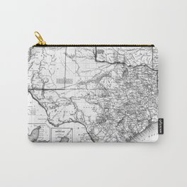 Vintage Map of Texas (1856) BW Carry-All Pouch