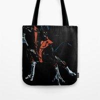 nightcrawler Tote Bags featuring Nightcrawler by bernardtime