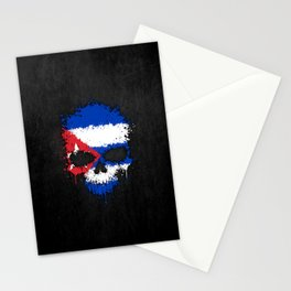 Flag of Cuba on a Chaotic Splatter Skull Stationery Cards