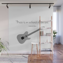 Guitars with a famous quote. Music is an outburst of the soul by Frederick delius Wall Mural