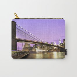 Brooklyn Bridge at night. New York Carry-All Pouch