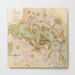 Map Of Canberra 1913 Metal Print