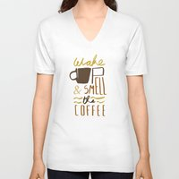 coffee V-neck T-shirts featuring Coffee by David