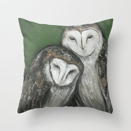 Soul Mates // Barn Owls Owl Bird Feather Wing Nature Love Animal Wild Nest Couple Marriage Family Throw Pillow