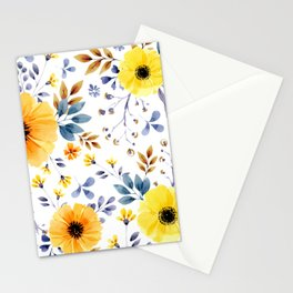 Yellow watercolor flowers Stationery Cards