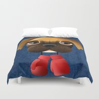 boxer Duvet Covers featuring Boxer by Sloe Illustrations