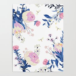Floral pattern King Protea pink blush blue grey Poster