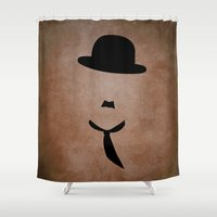 chaplin Shower Curtains featuring chaplin brown by Kozza