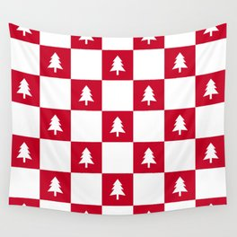 Christmas Tree - red and white check Wall Tapestry