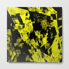 Fractured Warning - Black and yellow, abstract, textured painting Metal Print