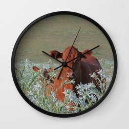 Cow Hide Wall Clock