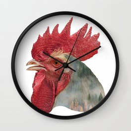 Rooster Double Exposure Wall Clock