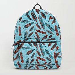 Tlingit Feathers Blue Backpack