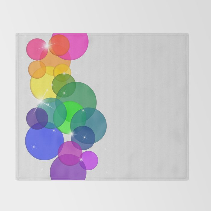 Translucent Rainbow Colored Circles with Sparkles - Multi Colored Throw Blanket
